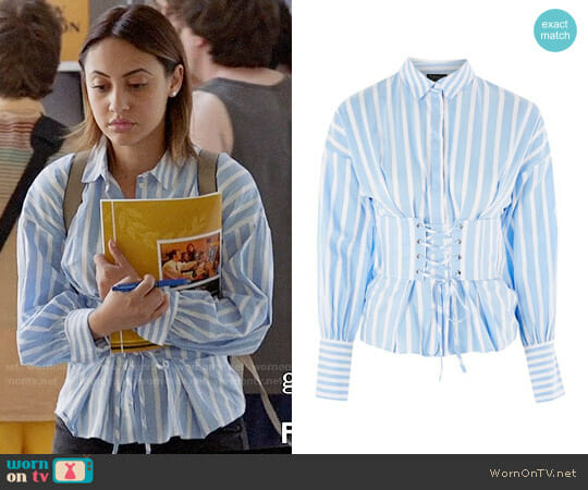 Topshop Wide Stripe Corset Shirt worn by Francia Raisa on Grown-ish