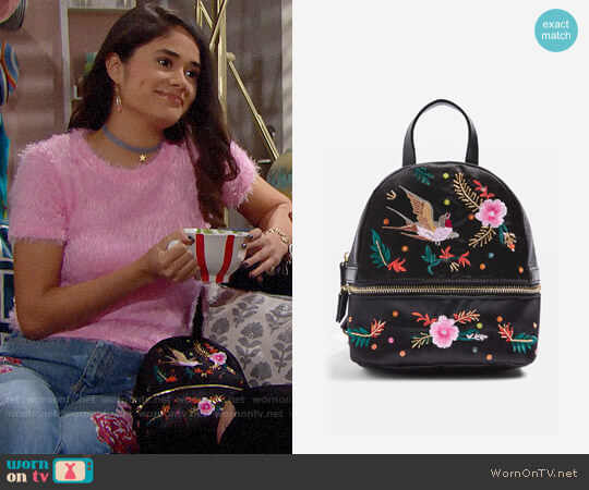 Topshop Satin Bird Embroidered Backpack worn by Danube Hermosillo on The Bold & the Beautiful