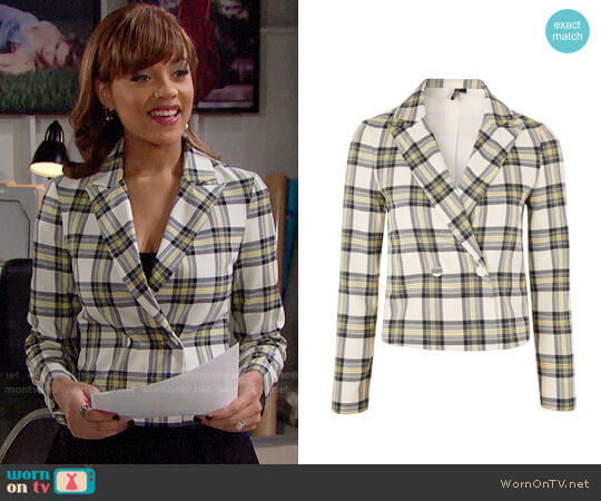 Topshop Checked Crop Jacket worn by Reign Edwards on The Bold & the Beautiful