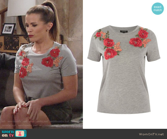 Topshop Floral Applique Tee worn by Melissa Claire Egan on The Young & the Restless