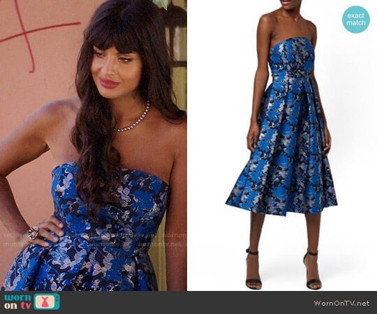 Topshop 'Shadow Jacquard' Strapless Midi Dress worn by Tahani Al-Jamil (Jameela Jamil) on The Good Place