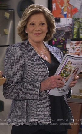 Judy's black and white tweed jacket on 9JKL