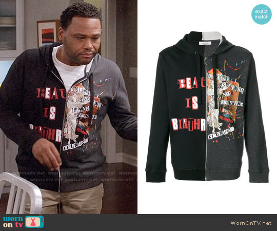Valentino Contrast Panel Zipped Hoodie worn by Anthony Anderson on Blackish