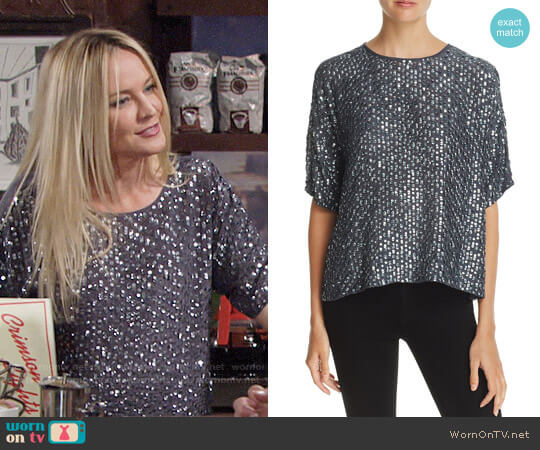 Velvet by Graham & Spencer Sequined Top worn by Sharon Collins (Sharon Case) on The Young & the Restless
