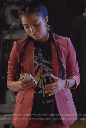 Zoey's red velvet blazer and black ufo print t-shirt on Grown-ish