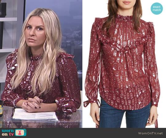 'Brooks' Metallic Silk Blouse by Veronica Beard worn by Morgan Stewart  on E! News