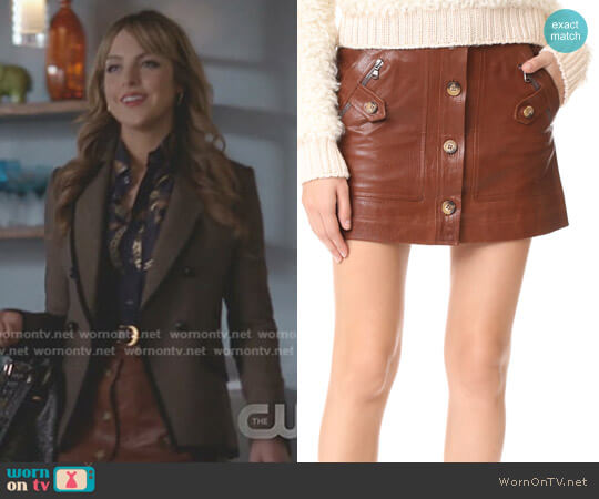 'Monroe' Leather Cargo Skirt by Veronica Beard  worn by Elizabeth Gillies on Dynasty