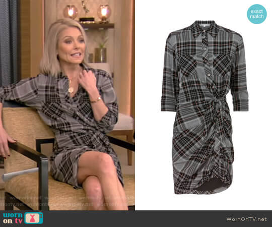 'Sierra' Plaid Dress by Veronica Beard worn by Kelly Ripa  on Live with Kelly & Ryan