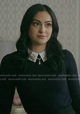Veronica's black sweater with embellished collar on Riverdale