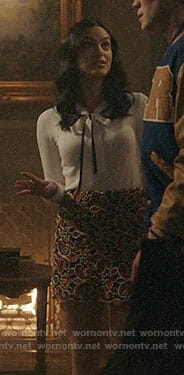 Veronica's white bow neck top and paisley skirt on Riverdale