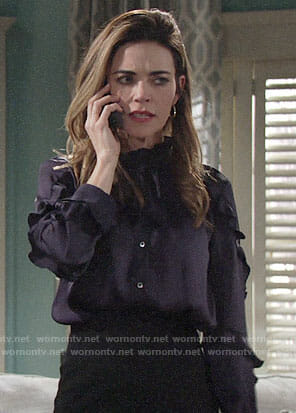 Victoria's navy ruffled sleeve blouse on The Young and the Restless