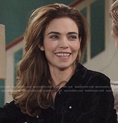 Victoria's velvet button down shirt on The Young and the Restless