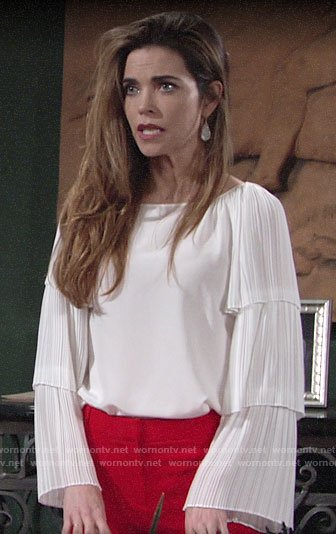 Victoria's white ruffled sleeve blouse on The Young and the Restless