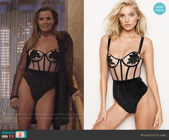 Victoria's Secret Velvet Applique Teddy worn by Melissa Claire Egan on The Young & the Restless
