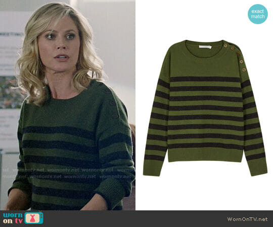 Vince Striped Cashmere Sweater worn by Julie Bowen on Modern Family