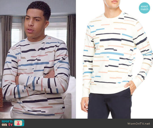Wesc Miles Broken Stripe Sweatshirt  worn by Andre Johnson Jr (Marcus Scribner) on Blackish