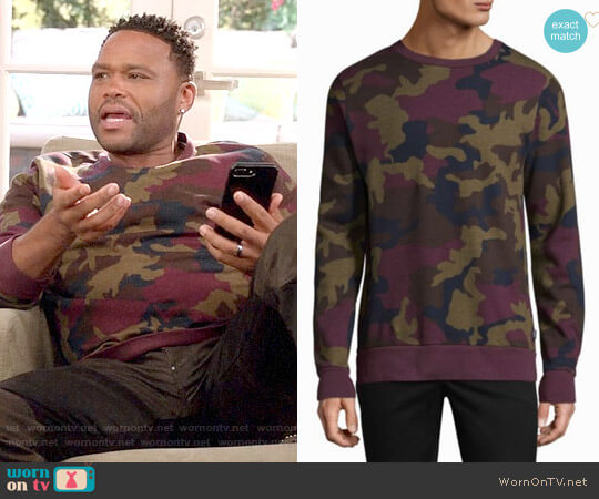 WeSC Miles Camouflage Cotton Sweatshirt worn by Anthony Anderson on Blackish