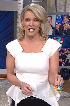 Megyn's white peplum top and stripe pants on Megyn Kelly Today