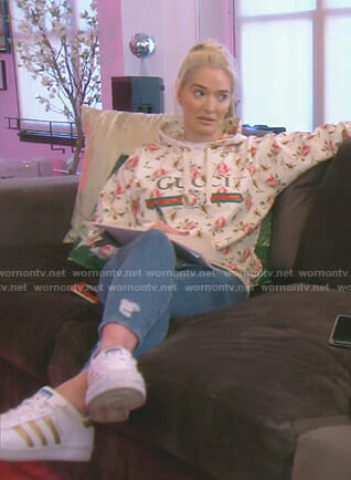eab7703232e WornOnTV  Erika s white floral hoodie on The Real Housewives of Beverly  Hills