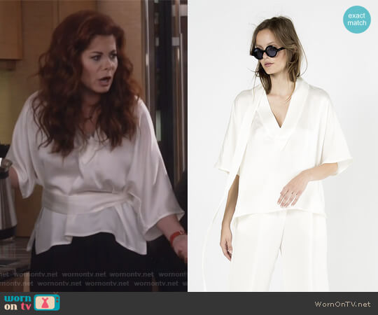 V-neck Waist Tie Top by Wingate Collections worn by Grace Adler (Debra Messing) on Will & Grace