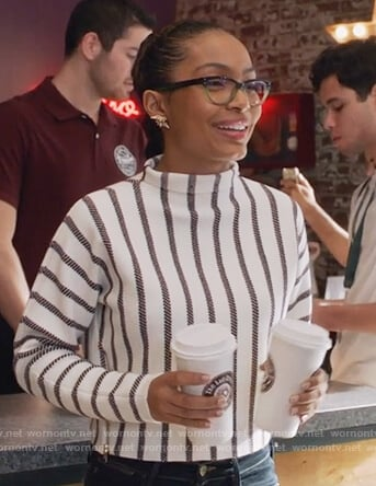 Skylar's white and red ribbed sweater on Grown-ish