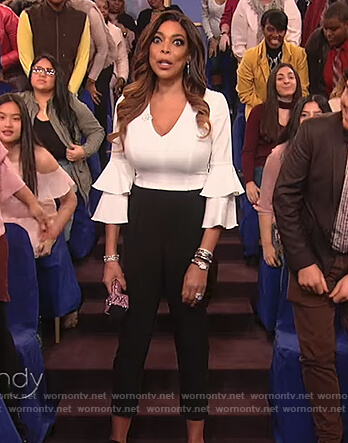 Wendy's white and black bell sleeve jumpsuit on The Wendy Williams Show
