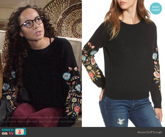 Woven Heart Embroidered Waffle Stitch Sweater worn by Lexie Stevenson on The Young & the Restless