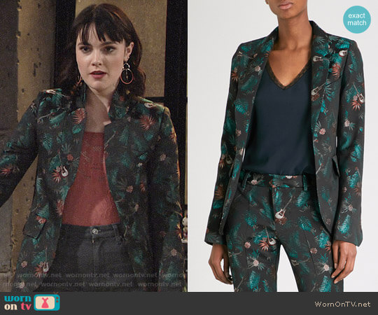Zadig & Voltaire Very Jungle Jacquard Blazer worn by Cait Fairbanks on The Young & the Restless