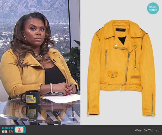 Faux Suede Biker Jacket by Zara worn by Nina Parker on E! News worn by Nina Parker on E! News