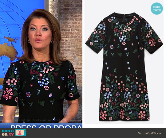 Flower Embroidered Dress by Zara worn by Norah O'Donnell  on CBS This Morning