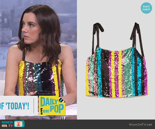 Multicoloured Sequin Top by Zara worn by Melanie Bromley  on E! News
