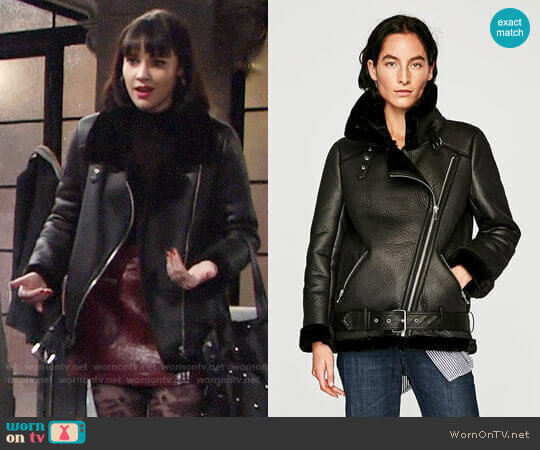 Zara Biker Jacket worn by Cait Fairbanks on The Young & the Restless