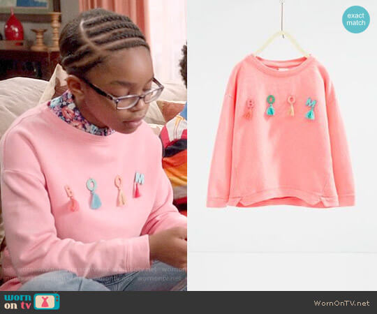 Zara Boom Sweatshirt worn by Marsai Martin on Blackish