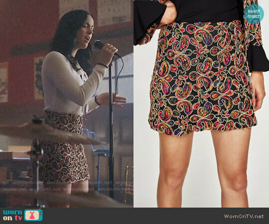 Zara Embellished Fabric Mini Skirt worn by Veronica Lodge (Camila Mendes) on Riverdale
