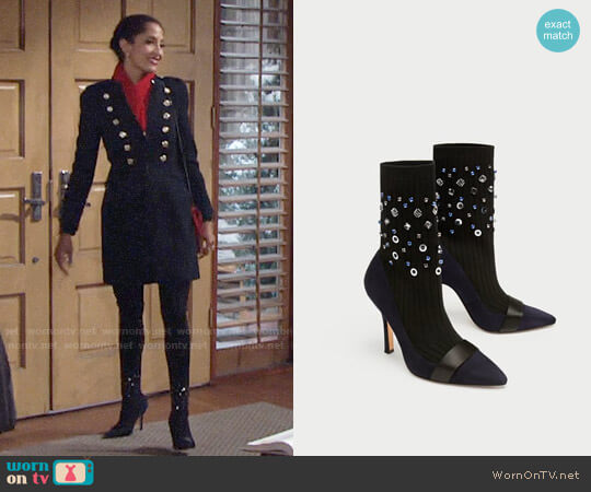 Zara Embellished Sock-Style Ankle Boots worn by Christel Khalil on The Young & the Restless