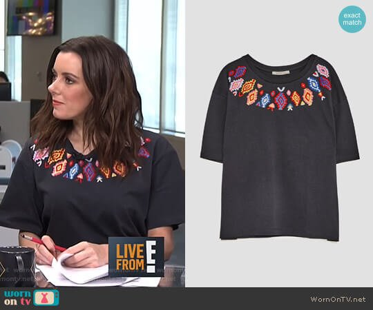 Embroidered T-Shirt by Zara worn by Melanie Bromley  on E! News