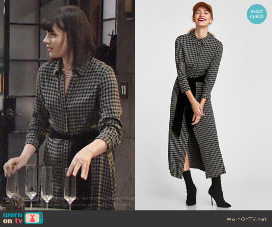 Zara Long Checked Tunic worn by Cait Fairbanks on The Young & the Restless