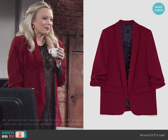 Zara Loose Jacket worn by Melissa Ordway on The Young & the Restless