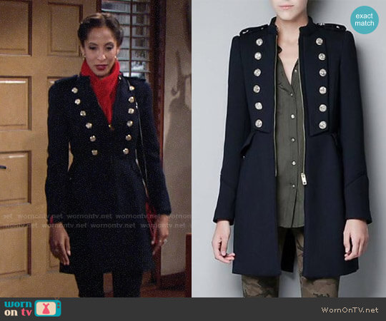 Zara Military Coat worn by Christel Khalil on The Young & the Restless