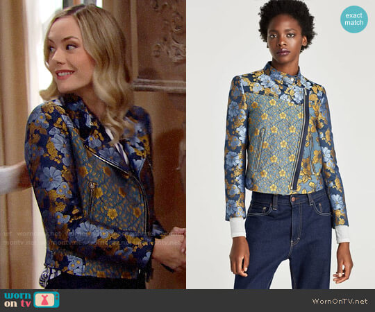 Zara Patchwork Jacket worn by Hope Logan (Annika Noelle) on The Bold & the Beautiful