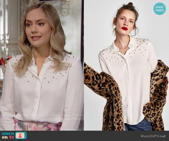 Zara Pearly Shirt worn by Hope Logan (Annika Noelle) on The Bold & the Beautiful