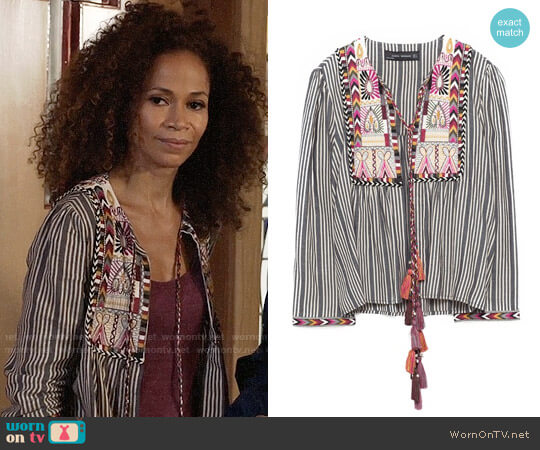 Zara Short Embroidered Jacket worn by Lena Adams Foster (Sherri Saum) on The Fosters