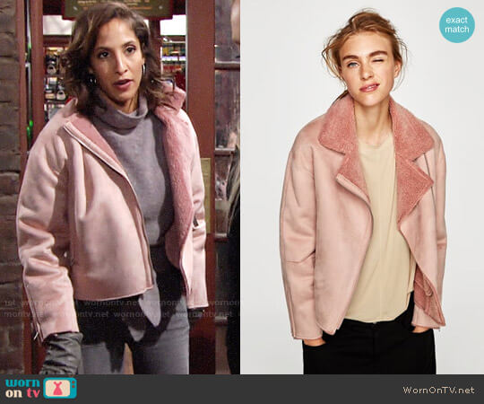 Zara Suede Effect Jacket worn by Lily Winters (Christel Khalil) on The Young & the Restless