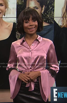 Zuri's pink tie front bell sleeve blouse on E! News