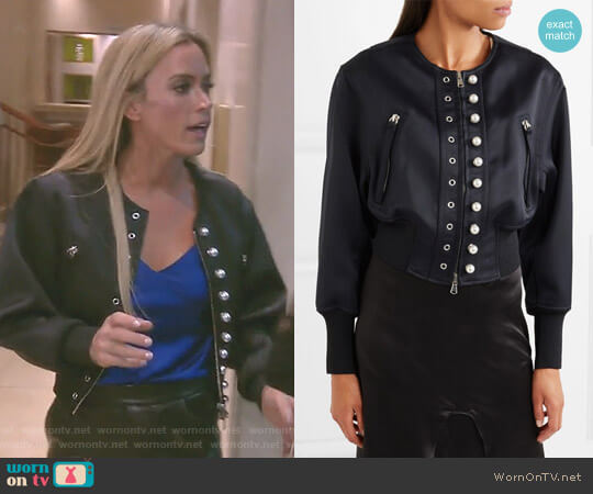 Faux Pearl-Embellished Bomber Jacket by  3.1 Phillip Lim worn by Teddi Mellencamp Arroyave on The Real Housewives of Beverly Hills