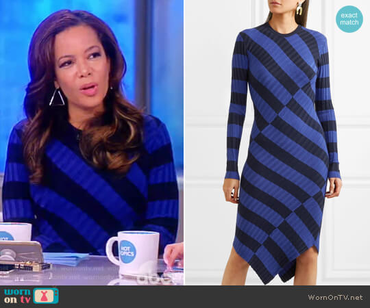 Whistler asymmetric striped ribbed-knit dress by Altuzarra worn by Sunny Hostin on The View