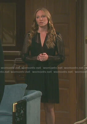 Abigail's black dotted pleated dress on Day of our Lives
