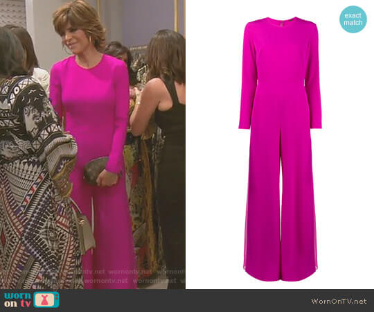 Wide Leg Long Sleeve Jumpsuit by Adam Lippes worn by Lisa Rinna on The Real Housewives of Beverly Hills