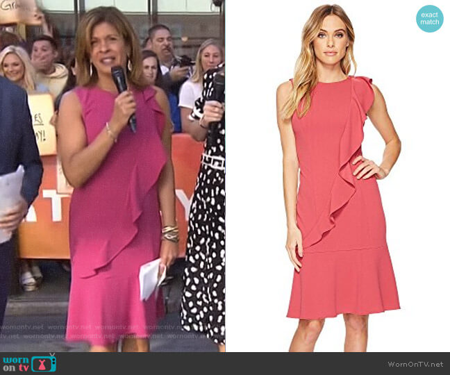 Ruffle Crepe Dress by Adrianna Papell worn by Hoda Kotb  on Today