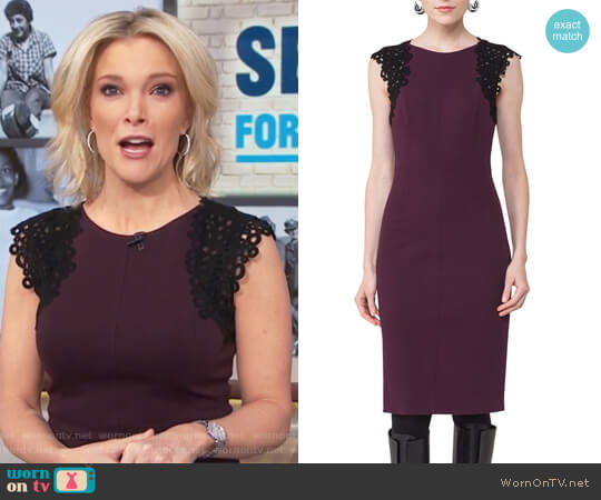 Lace-Trim Cap-Sleeve Dress by Akris Punto worn by Megyn Kelly on Today